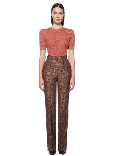 NetWork NetWork 1076441 Renkli Şal Desenli Kadın Pantolon Kahve